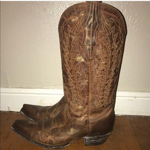 Shoes - Cavenders Brown Gold Brush Stroke Cowboy Boots